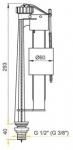 Шаровой клапан сливного бачка Alca Plast (нижняя подводка)