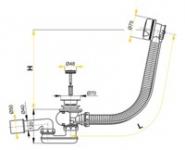 Перелив для ванны ALCAPLAST A-51CRМ полу автомат
