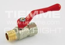 """Кран шаровый TIEMME TORNADO 1/2"""" 2380016 п/м алюминиевый рычаг красный"""