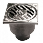 Трап для душа SER 812/2 15х15 D50 прямой слив нержавеющая сталь