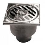 Трап для душа SER 812/1 10х10 D50 прямой слив нержавеющая сталь